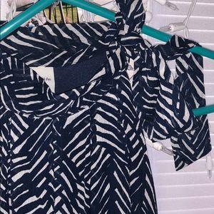 Merona Dresses - Adorable Blue and cream Chiffon Halter Dress